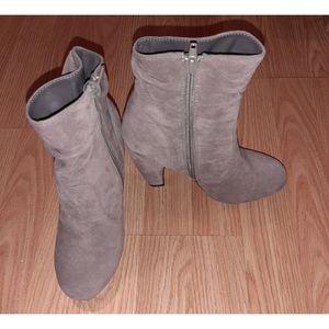 Grey Swede Heeled Boots
